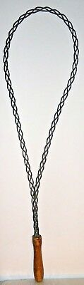 """Antique Primitive Braided Metal Rug Beater w/Wooden Handle 29"""" Tall"""