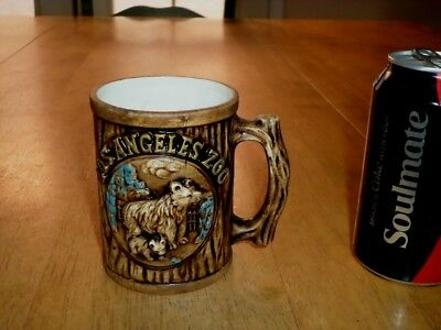 LOS ANGELES ZOO - [3-D] GRAPHICS, Ceramic Coffee Cup / Mug, VINTAGE JAPAN 1960's
