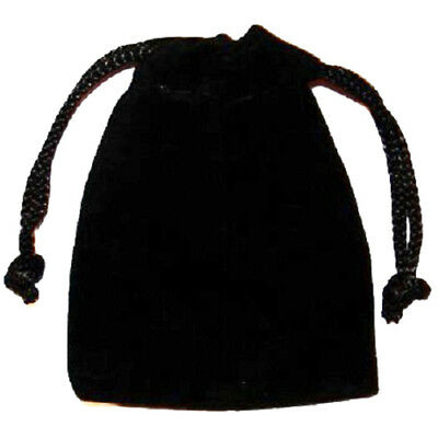 POUCH - SMALL BLACK VELOUR Crystal Bag with Drawstring Closure - 2 x 2.5 inch