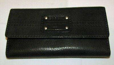 906fa844a882 FOSSIL BLACK LEATHER Deluxe Flap Clutch Wallet In Box - $21.95 ...
