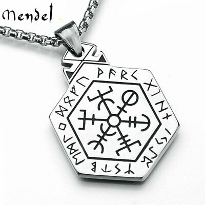 MENDEL Mens Viking Rune Vegvisir Compass Pirate Necklace Pendant Stainless Steel
