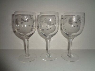 "(3) Princess House  CRYSTAL WHITE WINE GLASSES ""HERITAGE"""