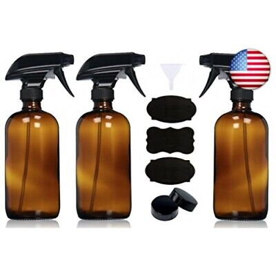 Empty Amber Glass Spray Bottles with Caps, Labels and Funnel (3 Pack) - 16oz