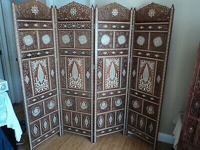 Vintage Hand Carved Wood Screen Room Divider With Bone Inlay From India 1969