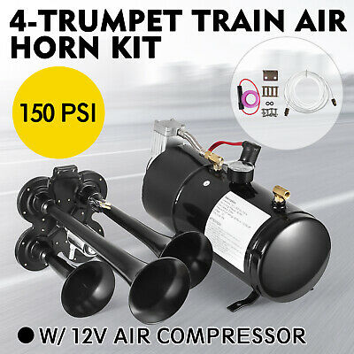 Train Luft Horn Kit mit 12V 150PSI Luft Kompressor Lokal Chrome w/4 trumpet
