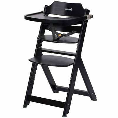 Safety 1st High Chair Timba Deep Black Wood Baby Toddler Feeding Booster Seat