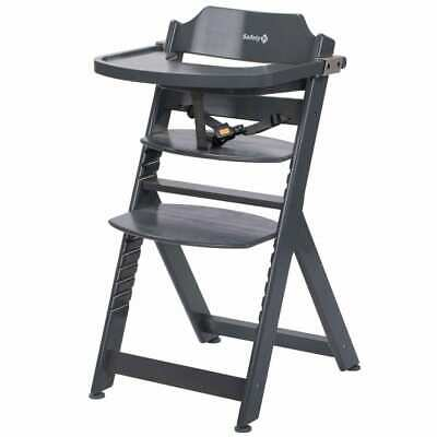 Safety 1st High Chair Timba Warm Grey Wood Baby Toddler Feeding Booster Seat