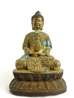 Antique Chinese Gilt Bronze Buddha Statue with internal Contents China Qing