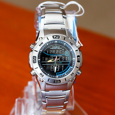 Casio Men's Fishing Gear Thermometer Stainless Steel Watch AMW703D-1AV New