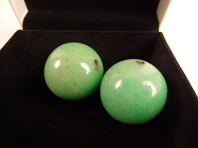 Two Antique Chinese Green Jade Mandarin hat finials High Court China Qing