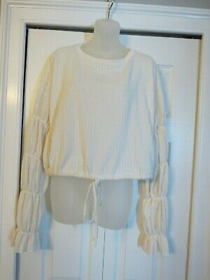 a68aa66d6c0aad Womens ZARA Trafaluc Ivory Off White Crop Top W/ Statement puffy Sleeves  Size S