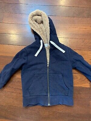 Warm Soft Witchery Boys Zip Up Hoody With Lining Navy Blue Size 3 Jacket