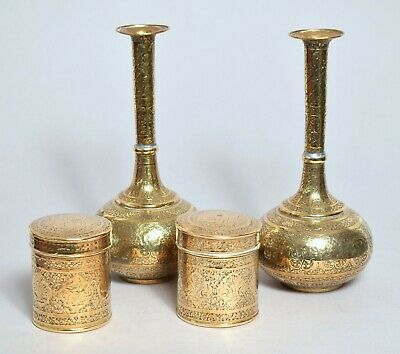 Good Antique Islamic Persian Indian Engraved Brass Vases And Boxes