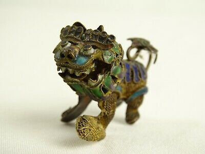 Old  Miniature Chinese Canton Enamel Foo Dog Fillagree gilt Sterling Silver