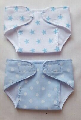 Set of 2 Nappies for 14-16 inch Dolls My First Baby Annabell/ Brother/ Boy (31)