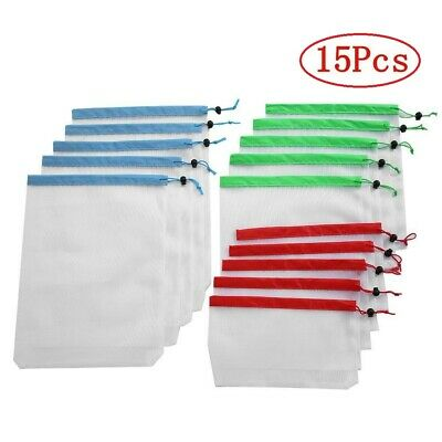 Reusable Mesh Produce Bags Fruit Vegetable Storage Shopping Eco Friendly