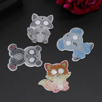 5pcs/SET Cartoon Animal DIY 5D Diamond Painting Keychain Key Ring Double Sided