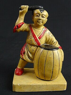 Vintage Japanese Soapstone carving Statue of a Taiko Drummer Hand coloured Japan