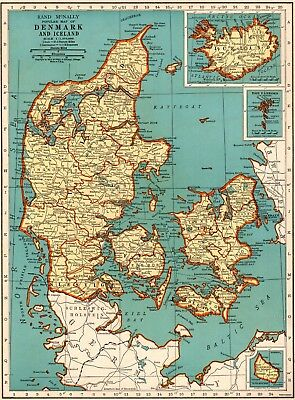 1940 Antique DENMARK Map Collectible Map of ICELAND Map Gallery Wall Art 6571