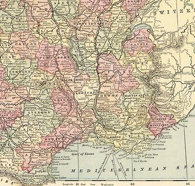 1886 Antique FRANCE Map Vintage Collectible Atlas Map of France Wall Art 6573