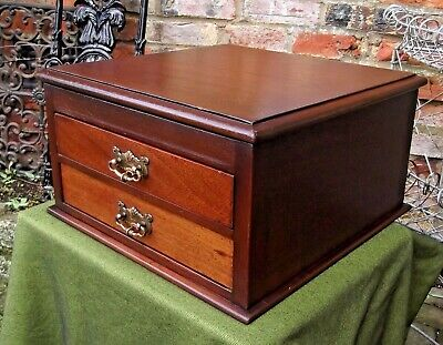 Vintage Mahogany Cutlery/Collectors Cabinet~2 Drawers~Stationery~Filing~Papers
