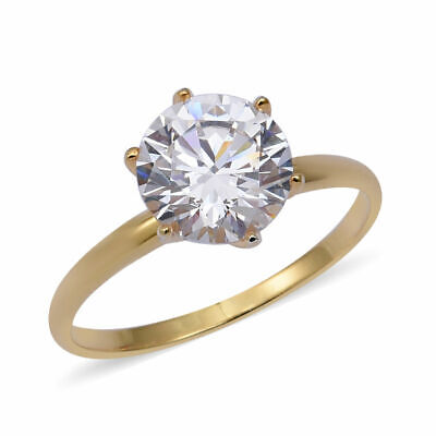 ELANZA Cubic Zirconia CZ Silver Yellow Gold Plated Engagement Solitaire Ring