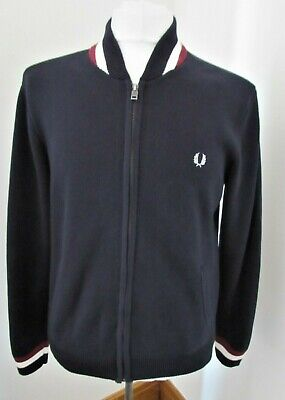 Men's Fred Perry Knitted Cardigan Jacket Mod Casual Scooter Medium Large