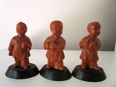 Antique Chinese Carved Boxwood Republic Cultural Revolution 3 Figures Statues