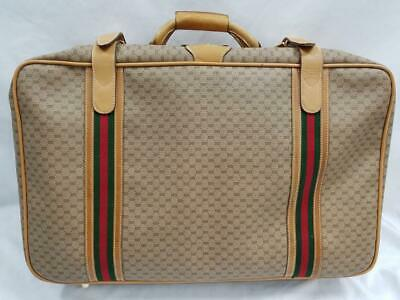 Gucci Authentic VTG Monogrammed Green Red Signature Leather Suitcase Hand Bag GG