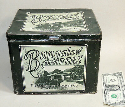Antique BUNGALOW WAFERS Biscuit TIN Box Arts & Crafts House Lindquist Denver CO