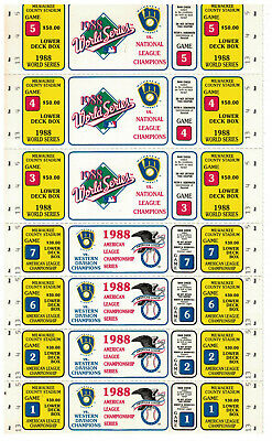 7 1988 Un-Used  Milwaukee Brewers  World Series tickets + ALC Tickets