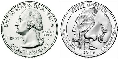 2013 P & D Mt Rushmore America The Beautiful National Parks Quarters Free s/h