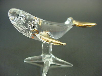 Curio Glass WHALE Clear & Gold Painted Glass Ornament Marine Animal Glass Animal