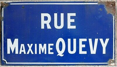 French enamel street sign plaque road Maxime Quevy La Longueville - killed WWII