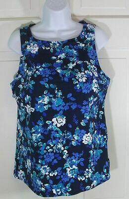 b536974961 LANDS END SWIMSUIT TANKINI TOP womens 16 high neck navy blue green floral  padded