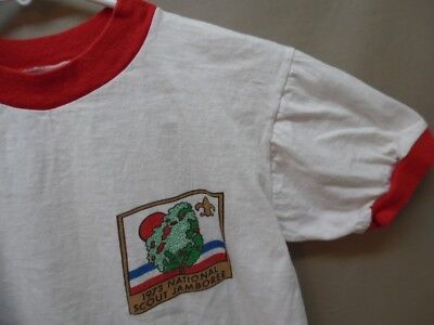 Youth Vintage Boy Scouts 1973 National Scout Jamboree Ringer T-shirt 16 (h731)