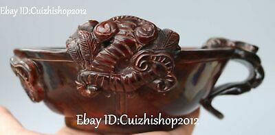 15CM China Oxhorn Ox Horn Carving Dragon Pixiu Beast Brave Troops Cup Cups Glass