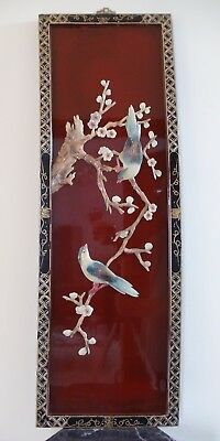 Vintage Chinese Carved Alabaster Lacquered Decorative Wall Panel (Cap002)