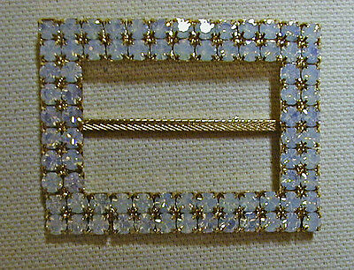 """Vintage Gold Toned Metal Buckle--White Rhinestones  From 1960's 2 1/8"""" x 1 1/8"""""""