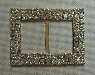 """Vintage Gold Toned Metal  Buckle--Clear Rhinestones  From 1960's 2 1/8"""" x 1 1/8"""""""