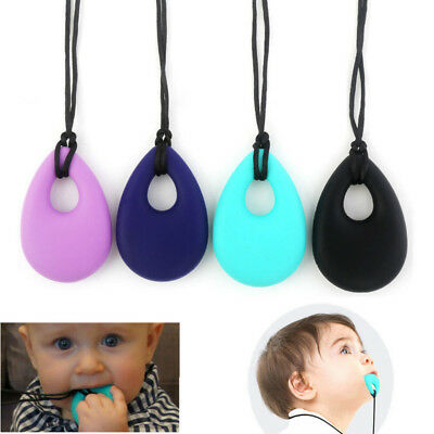 UK Kids Baby Chewy Necklace Anti Autism ADHD Biting Sensory Chew Teething Toys