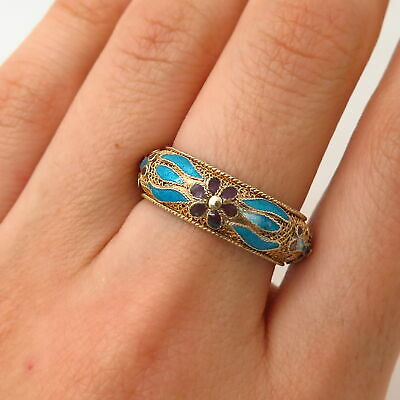 900 Silver Gold Plated Antique China Enamel Floral Design Band Ring Size 7 3/4