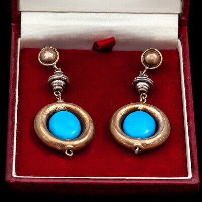 Antique Vintage Deco Mid Century Sterling 925 Silver Turquoise Repousse Earrings