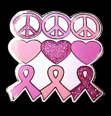 536abe064bc71 Breast Cancer Lapel Pin Tac Pink Ribbon Heart Peace Hippie Silver Plated New