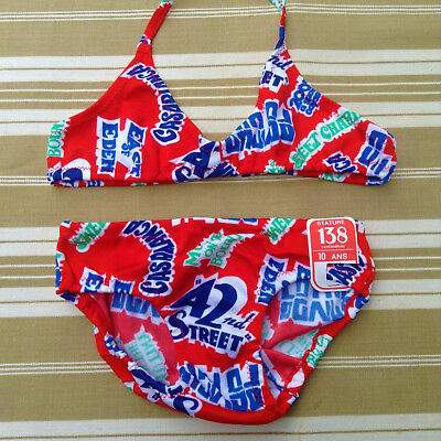 FRENCH 1970s GIRL RETRO SWIMWEAR BATHING SUIT - CLASSIC AMERICAN MOVIES - NWT-10