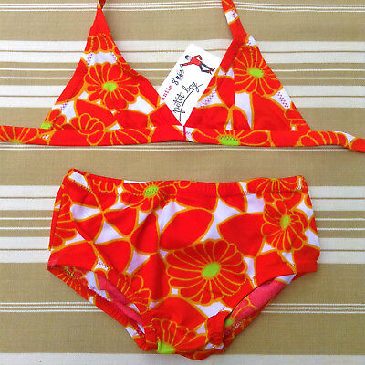 FRENCH 1960s GIRL 2 PIECES SWIMWEAR BATHING SUIT - BRIGHT ORANGE FLOWERS - NWT-8