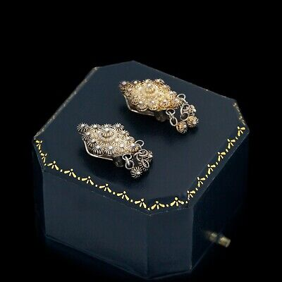 Antique Vintage Art Deco Sterling 835 Silver Etruscan Filigree Cluster Earrings