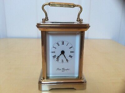 Vintage Miniature Brass Carriage Clock Robert Blandford 1873 With Key 7.5Cm Tall