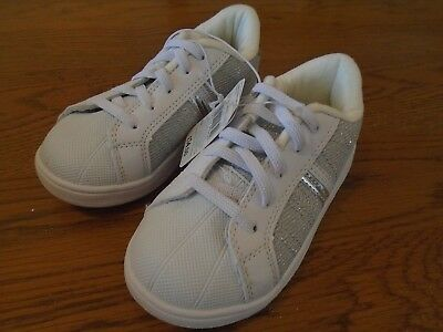 BNWT girls white & silver sparkle trainers. Mothercare. RRP £14.Size 8.    (2/1)
