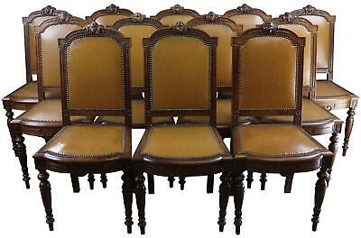 Dining Chairs Louis Xvi 6 Antique French Set 12 Camel Brown Leather Walnut